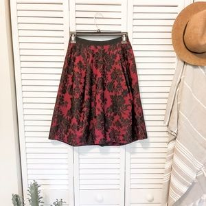 White House Black Market Red Midi Formal Skirt